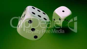white dice at green background closeup