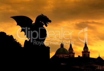 Green dragon in capital city Ljubljana, Slovenia