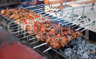 Appetizing fresh meat shish kebab (shashlik)  prepared on a gril