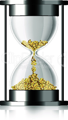 Time is money - vector hourglass with coins