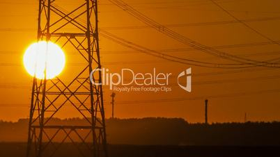 Sunset Wind Turbine and Power Lines
