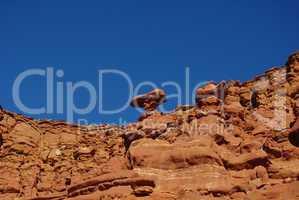 Bizarre red rock formations under intense blue sky near Hurrah Pass, Moab, Utah
