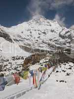 Prayer Flags In Front Of The Annapurna