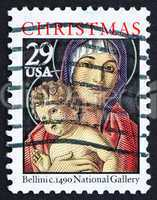 Postage stamp USA 1992 Madonna and Child by Giovanni Bellini