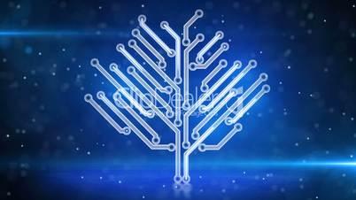 blue electronic hi-tech tree growing loop