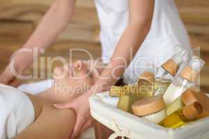 Beauty spa products in massage room