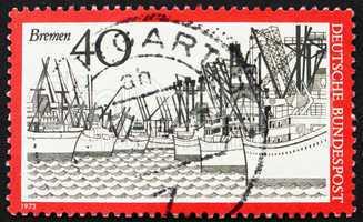 Postage stamp Germany 1973 Ships, Bremen Harbor, Germany
