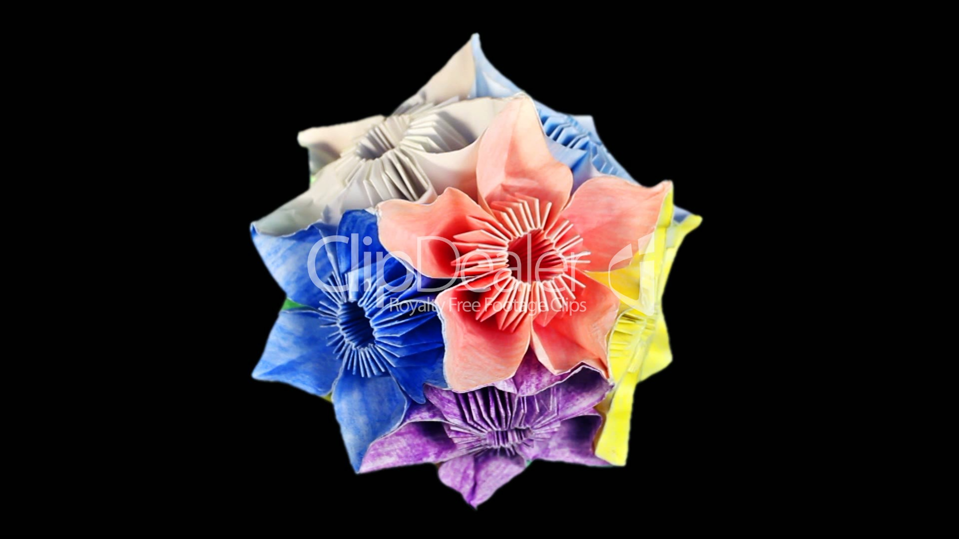 Rotating Of Origami Kusudama On Black Royalty Free Video And Stock