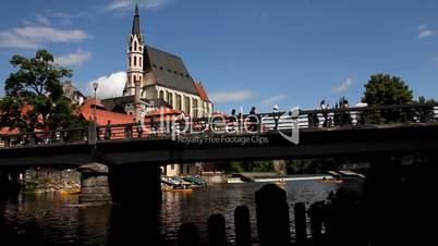 Český Krumlov - Brücke über der Moldau