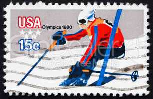 Postage stamp USA 1980 Downhill Skiing