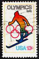 Postage stamp USA 1976 Skiing and Olympic Rings