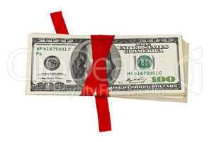 Stack of dollars tied up with red ribbon