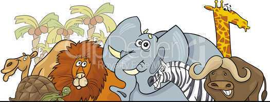 Cartoon African Safari wild animals design
