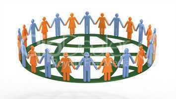Group of people around globe symbolic
