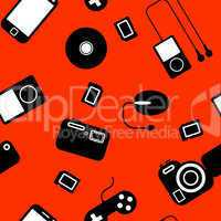 Seamless background Icon  with  electronic gadgets.