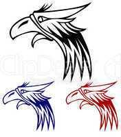 eagle isolated on white background for mascot or emblem design.