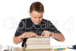 Teenager researching his homework