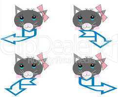 A collection of cats with blue arrows