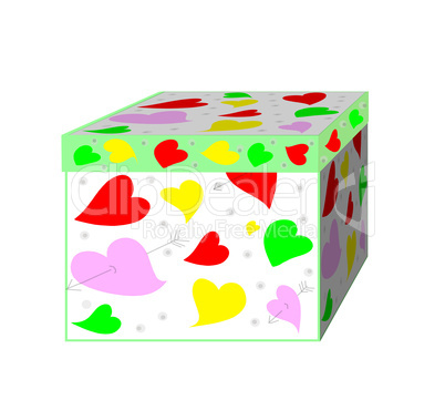 A beautiful gift box with hearts on a white background