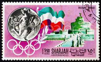 Postage stamp Manama 1968 Olympic Games Rome 1960, Italy