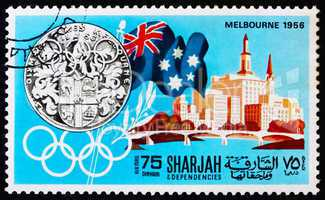 Postage stamp Manama 1968 Olympic Games Melbourne 1956, Australi