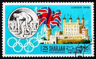 Postage stamp Manama 1968 Olympic Games London 1948, Great Brita