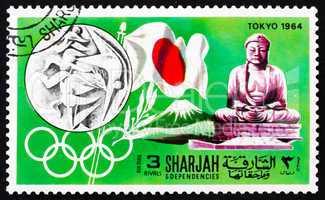 Postage stamp Manama 1968 Olympic Games Tokyo 1964, Japan
