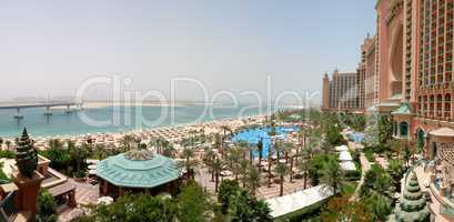Panorama of Atlantis the Palm hotel's beach, Dubai, UAE