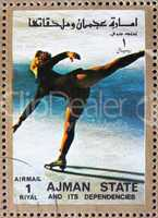 Postage stamp Ajman 1973 Figure Skating, Winter Olympics