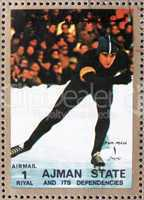Postage stamp Ajman 1973 Speed Skating, Winter Olympics