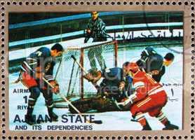 Postage stamp Ajman 1973 Ice Hockey, Winter Olympics