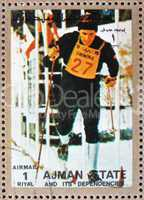 Postage stamp Ajman 1973 Cross-country Skiing, Winter Olympics