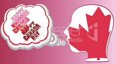 human head in canada flag and speech bubble - happy canada day