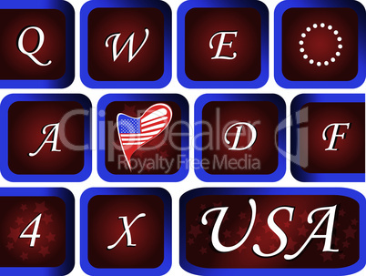 Close-up of Computer keyboard with red USA key
