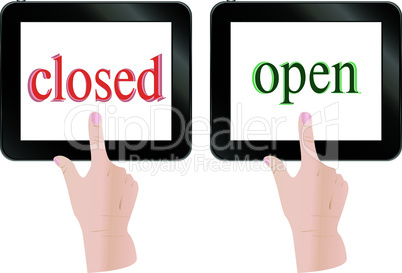 Hands finger touch screen tablet pc with open closed theme - vector