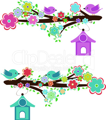 Cards with couples of birds sitting on branches and birdhouses