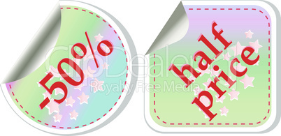 Half price sale stickers vector label set