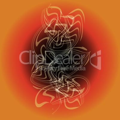 white smoke in orange abstract vintage background