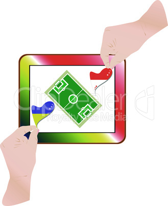 hands with national flag on computer tablet pc. Vector