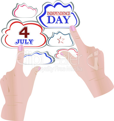 hand with speech cloud bubbles - united states theme