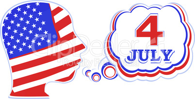 USA flag man with speech bubbles - independence day