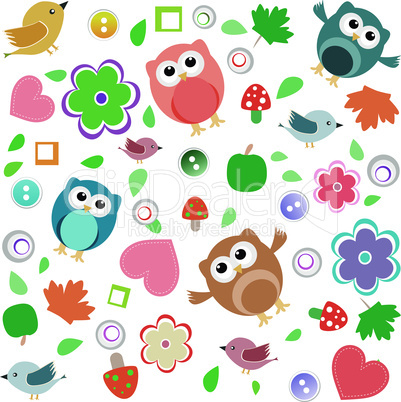 Bright background with owls, leafs, mushrooms and flowers. Seamless pattern