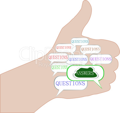 hand with question answer concept isolated on white