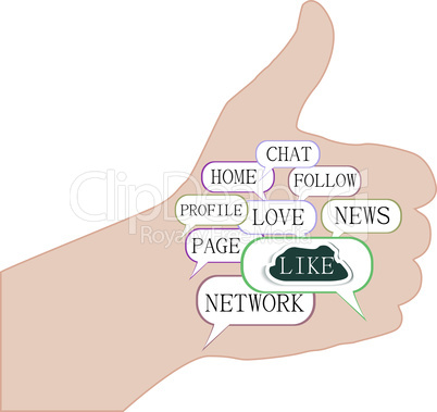 thumbs up symbol, composed of keywords on social media themes