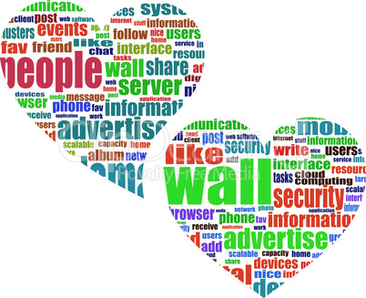 Social media marketing - vector word cloud in heart
