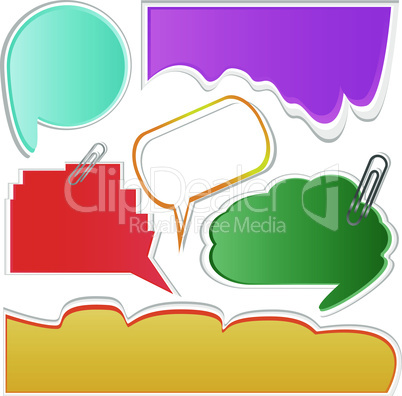 Paper speech bubble set. vector abstract stickers