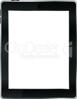 Realistic tablet pc computer with blank screen isolated on white background
