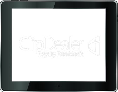 Black abstract tablet pc on white background