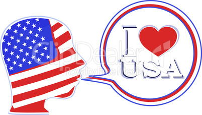 USA flag man with speech bubbles - i love usa
