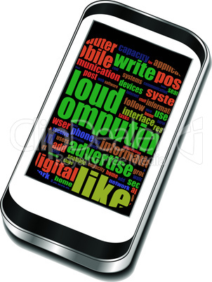 Vector smart phone with application icons and social media words